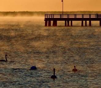 Mgła nad wodą. Zatoka Pucka przykrywał się woalem   ZDJĘCIA