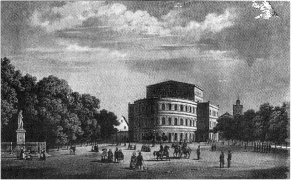 Litografia przedstawiająca teatr z 1857 roku