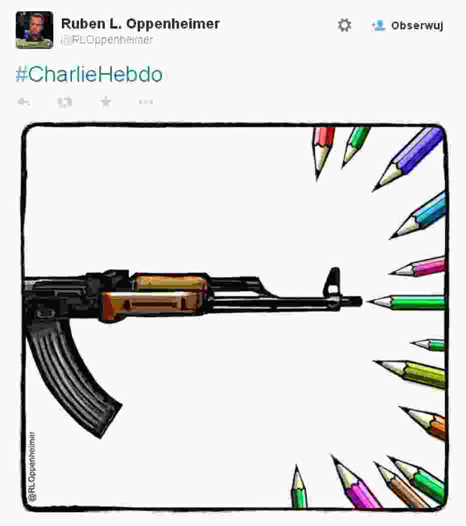 Zamach na Charlie Hebdo: artyści składają hołd ofiarom. Zobacz rysunki