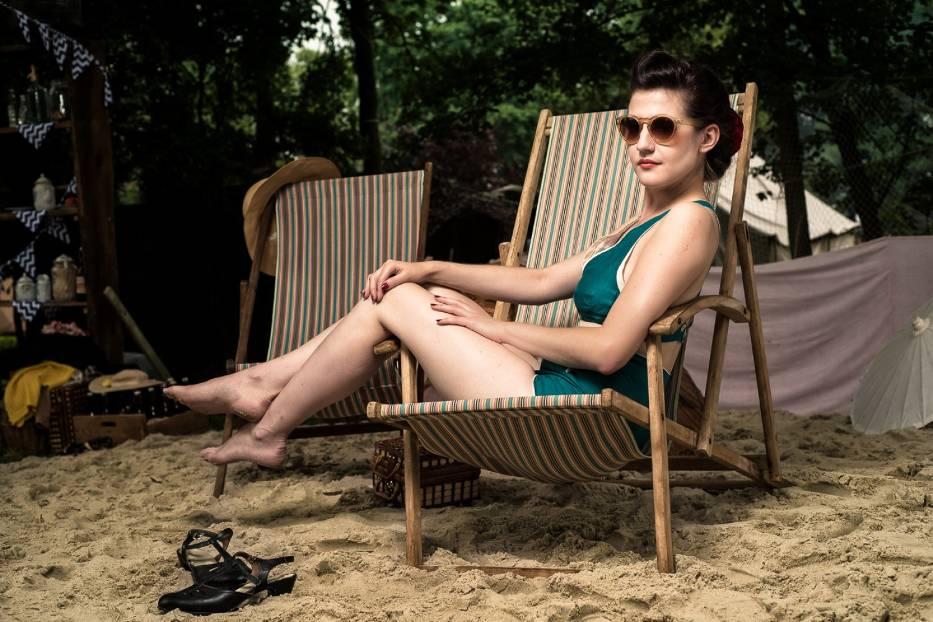 Ewa Tamara Łukasik w stroju kąpielowym z końca lat 30
