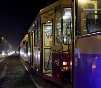 Wykolejenie tramwaju na Narutowicza w Łodzi