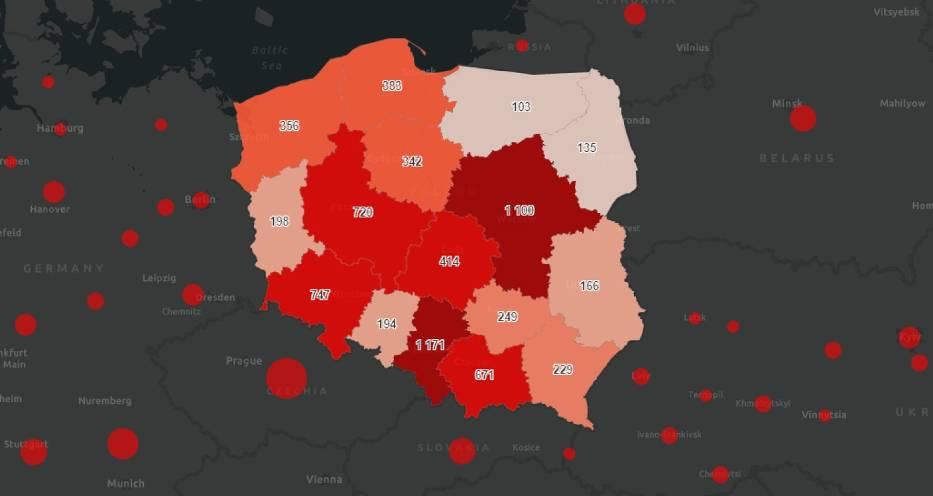 Liczba nowych zakażeń koronawirusem w Polsce w poszczególnych województwach