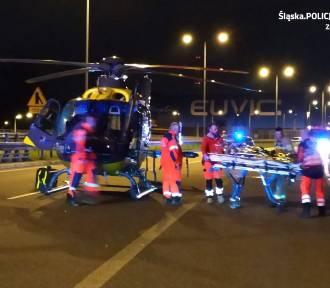 Wypadek motocyklisty na DTŚ w Zabrzu. Droga była zablokowana, lądował śmigłowiec LPR [ZDJĘCIA,