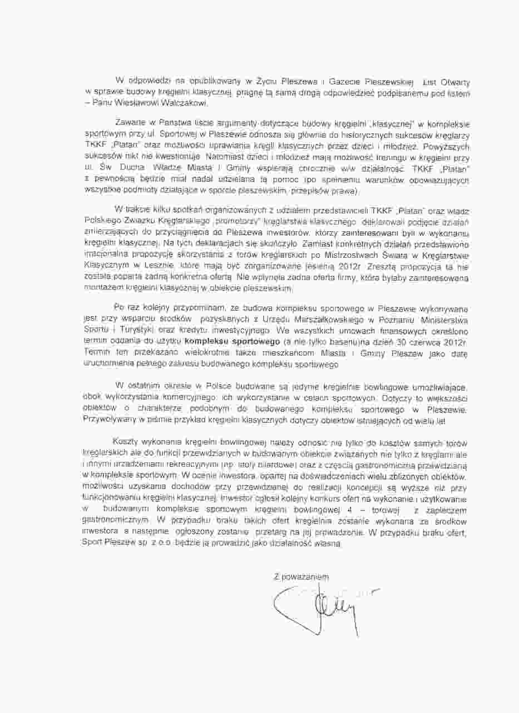 Odpowiedź na list otwarty Prezesa Zarządu Spółki Sport Pleszew