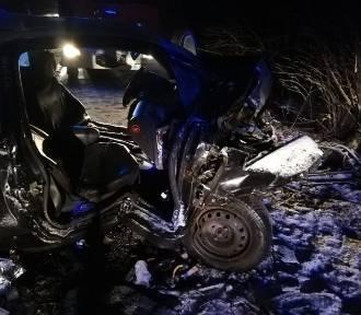 Wypadek w Górze. Opel uderzył w drzewo. Kierowca miał 2,5 promila