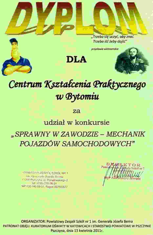 Dyplom dla Centrum Kształcenia Praktycznego w Bytomiu za udział w konkursie
