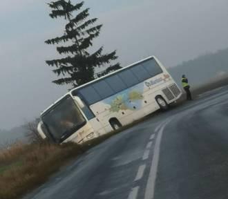 Autobus z wycieczką z Ciechocinka do Lichenia wjechał do rowu