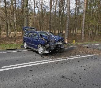 Opel zjechał z drogi i uderzył w drzewo. Kobieta w szpitalu