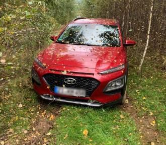 Czerwony Hyundai skradziony z Niemiec znaleziony w lesie pod Bogatynią