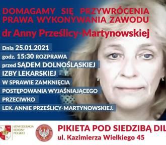 We Wrocławiu protestowali w obronie lekarki, która twierdzi, że pandemii nie ma