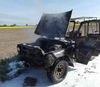 Pożar samochodu w powiecie międzyrzeckim