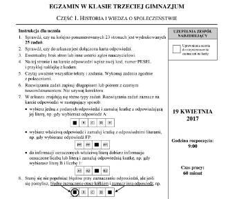 Egzamin gimnazjalny 2017. Historia i WOS [arkusze, odpowiedzi, pytania]