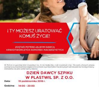 Plastwil organizuje Dzień Dawcy Szpiku. To już w ten piątek!