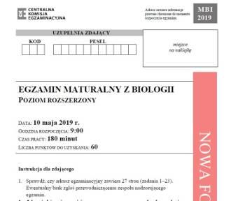 Matura 2019. Biologia p. rozszerzony - arkusz, odpowiedzi