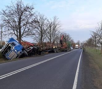 Ciężarówka z drewnem wylądowała w rowie - bądźmy ostrożni za kierownicą!