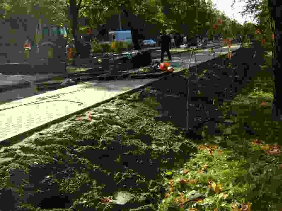 Urządzanie terenu tuż przed bramą cmentarną w Szczecinie Dąbiu