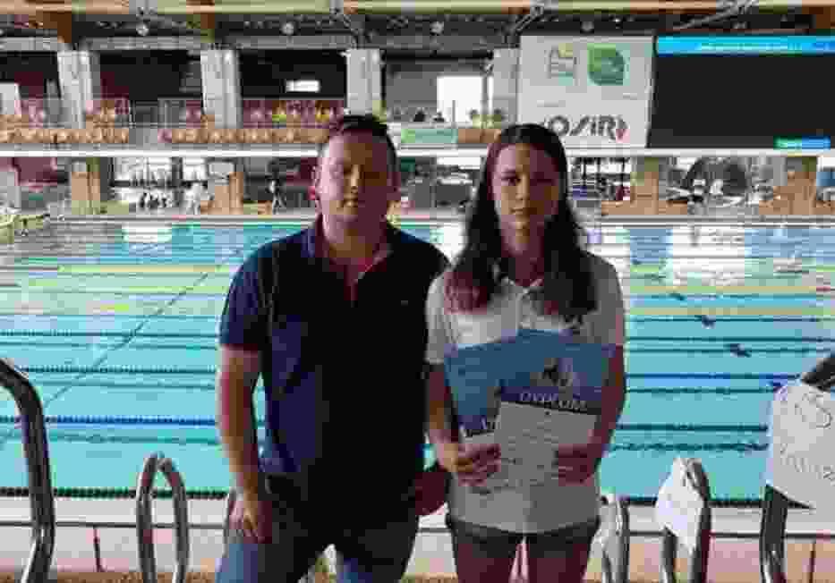 Julia Maik z trenerem Dominikiem Grudzińskim