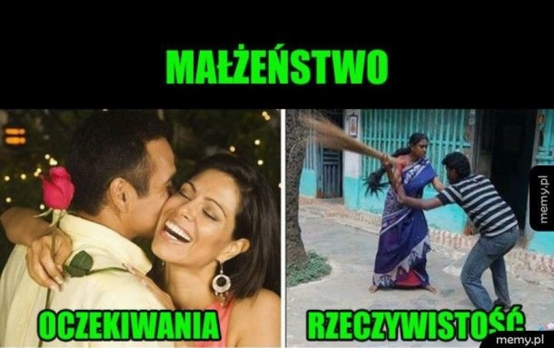Nie ma to jak małżeństwo? Memy potrafią obedrzeć ze złudzeń każdego, kto tak myśli! Oczywiście, że mąż i żona to idealny duet – zupełnie jak ogień i woda