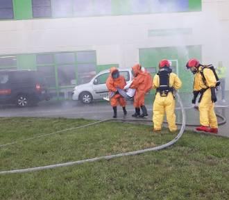 Wyciek amoniaku w zakładzie na strefie przemysłowej w Nowej Soli ćwiczyli strażacy