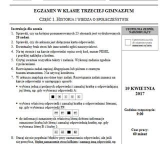 Egzamin Gimnazjalny 2017: część humanistyczna: polski, historia, wos [ARKUSZ CKE, ODPOWIEDZI]