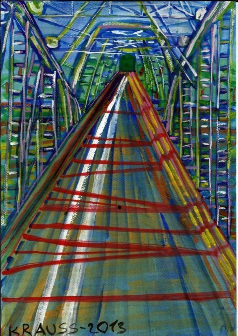 """Obraz pt """" Most in Marszałka Piłsudskiego """" nad rzeką Narwią"""