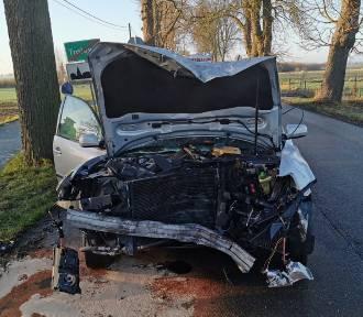 Tralewo. Wypadek na drodze powiatowej [ZDJĘCIA]. Dwie kobiety ranne po uderzeniu w drzewo