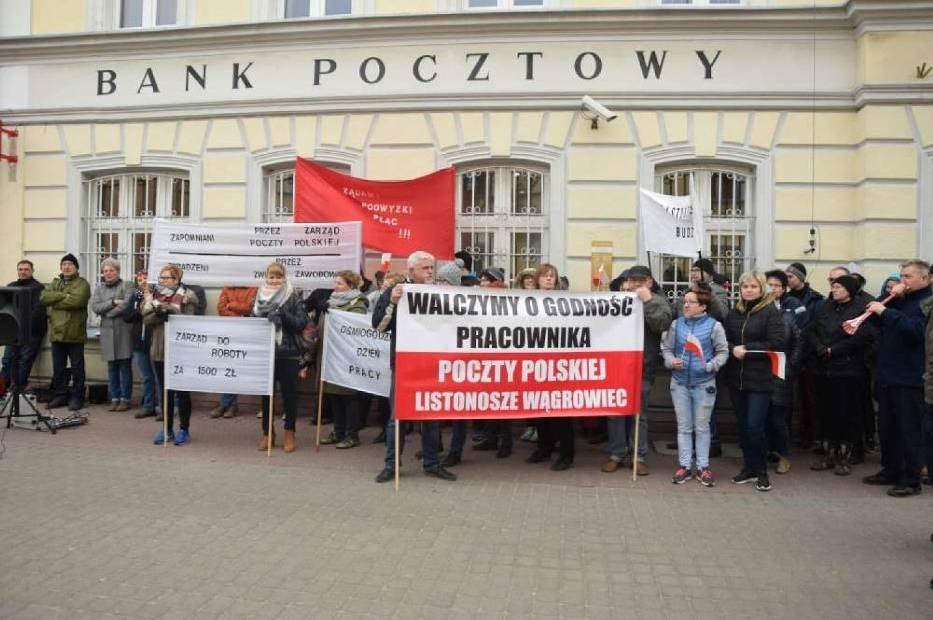 Protest Poczty Polskiej w Wągrowcu