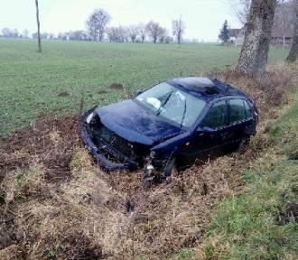 Wypadek w Pogorzałej Wsi. Samochód wypadł z drogi, ucierpiał 19-letni kierowca