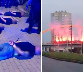 Kibole odpalili race nad DTŚ. Uciekając potrącili policjantów
