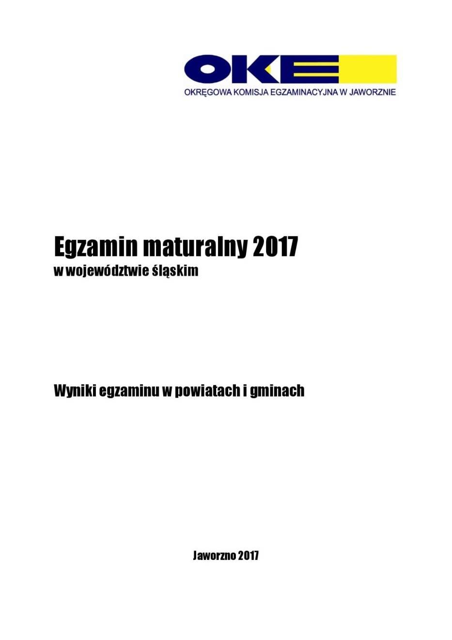 Wyniki MATUR 2017 woj. śląskie