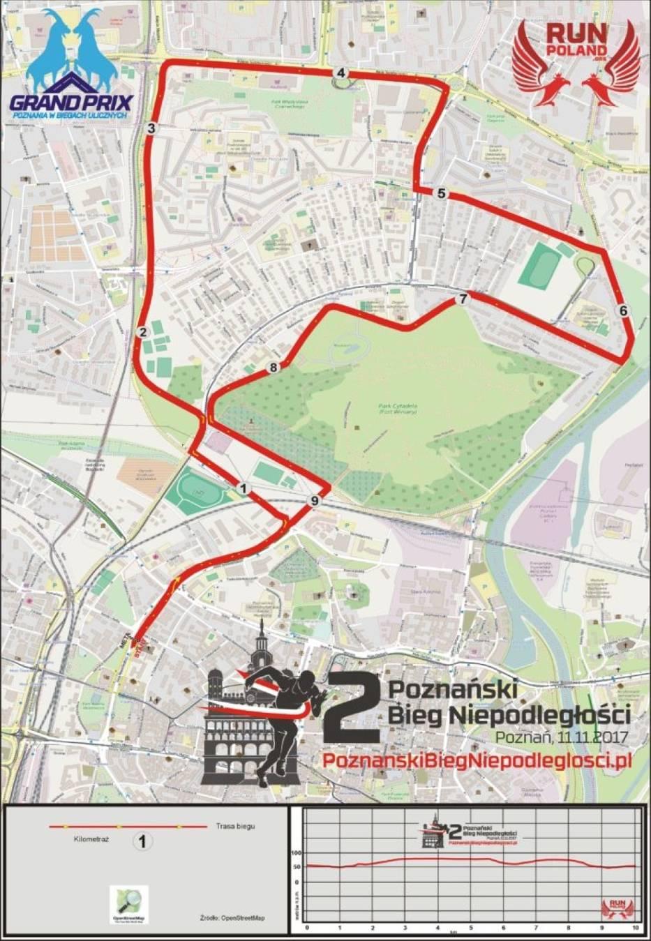 Bieg Niepodległości Poznań 2018 - TRASA