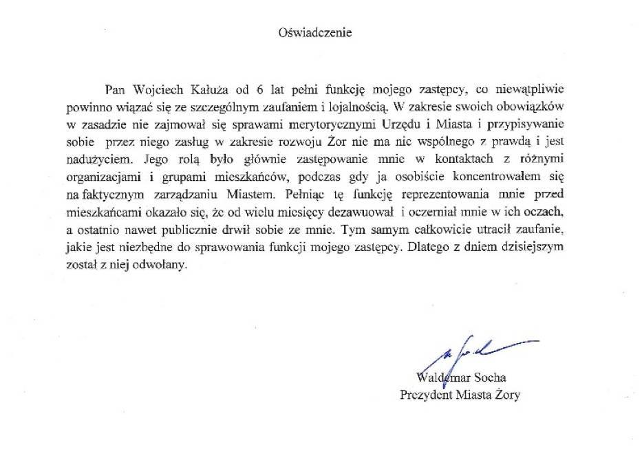 Wojciech Kałuża odwołany z funkcji wiceprezydenta Żor!