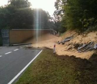 25 ton paszy wysypało się podczas wypadku w Dłużku [ZDJĘCIA]