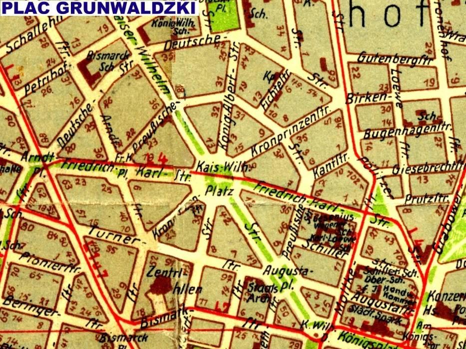 Plac Grunwaldzki (Kaiser Wilhelm platz) na planie miasta z 1938 roku