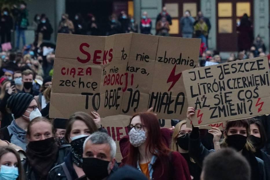 Protest przeciwko zakazowi aborcji w Poznaniu