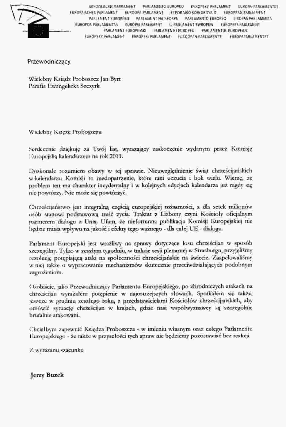 Screen pisma Przewodniczącego Parlamentu Europejskiego Jerzego Buzka