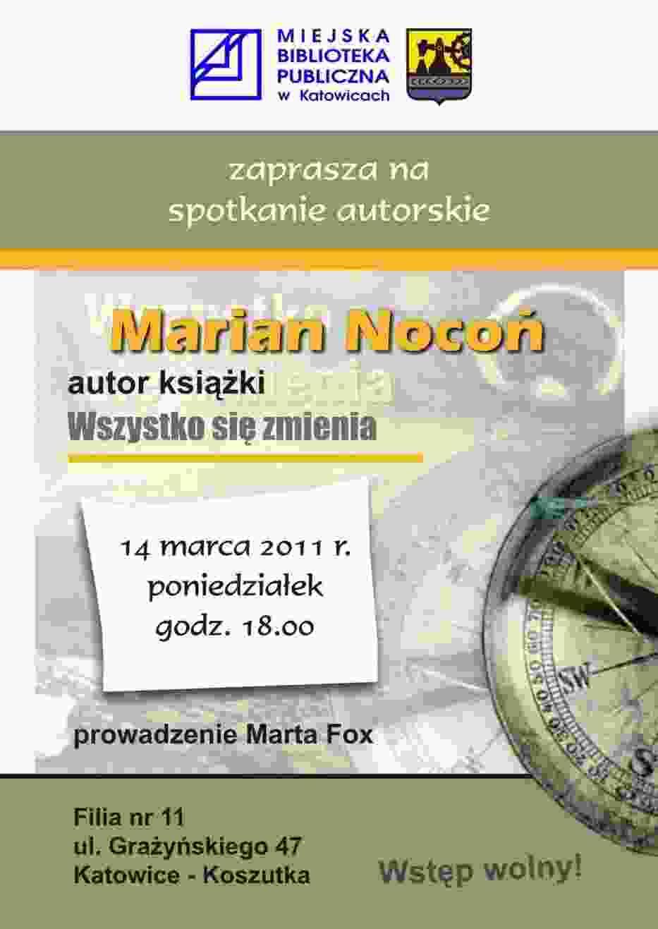 Plakat, reklamujący spotkanie autorskie Mariana Noconia