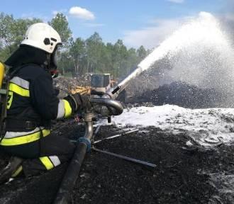 Pożar w Trzebini na składowisku palet