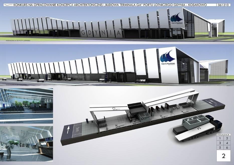 Zwycięska koncepcja terminala Portu Lotniczego Gdynia-Kosakowo zaprojektowana przez firmę ATI - Architektura Technika Inwestycje