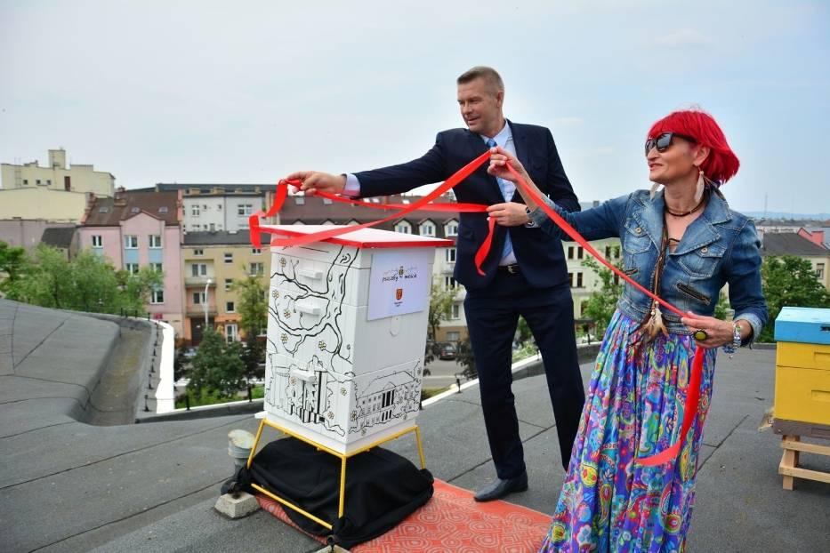 Beata Antoszewska, prezes kieleckiego okręgu Ligi Ochrony Przyrody i prezydent Kielc Bogdan Wenta zaprezentowali ul na dachu Kieleckiego Centrum Kultury
