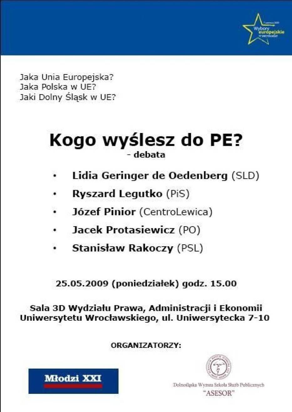 Plakat promujący debatę