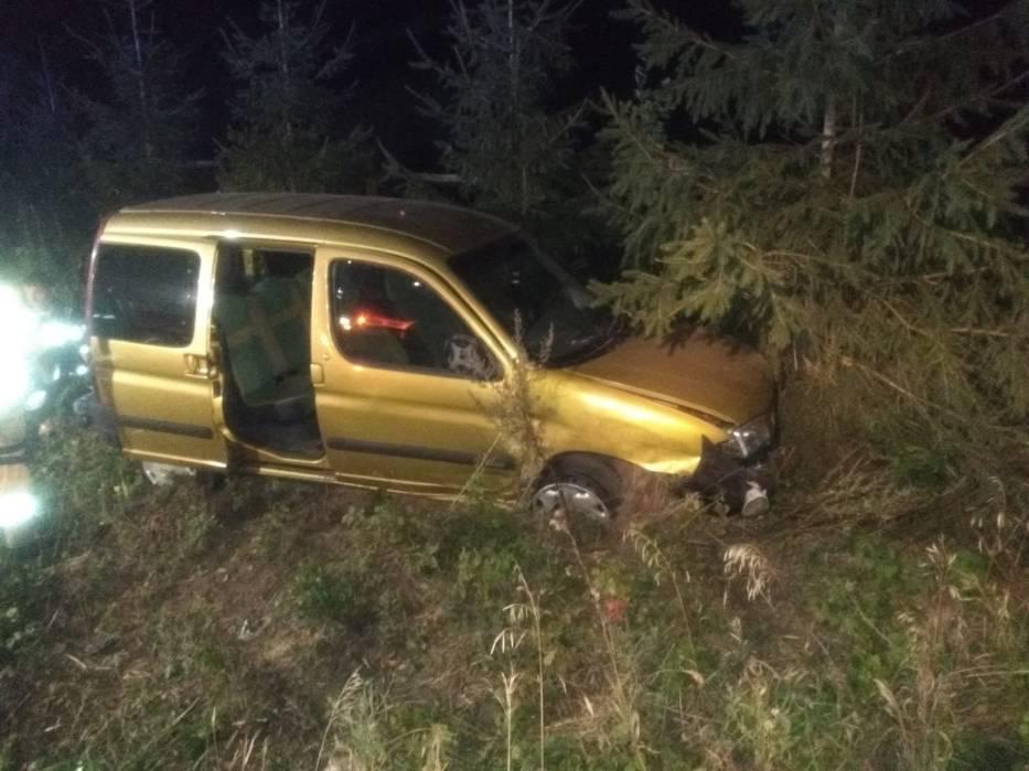 Pijany kierowca uderzył w drzewo