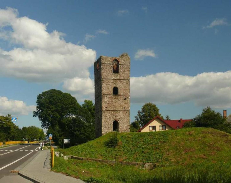 Ruiny średniowiecznej wieży w Stołpiu