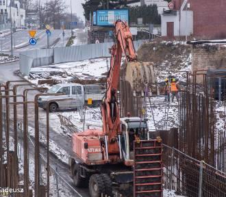 Początek lutego 2021 roku na przebudowie wiaduktu kolejowego i stacji Stargard