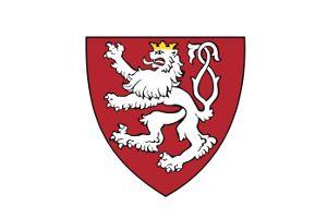 biały lew czeski na czerwonym polu, ze złotą koroną i podwójnym ogonem